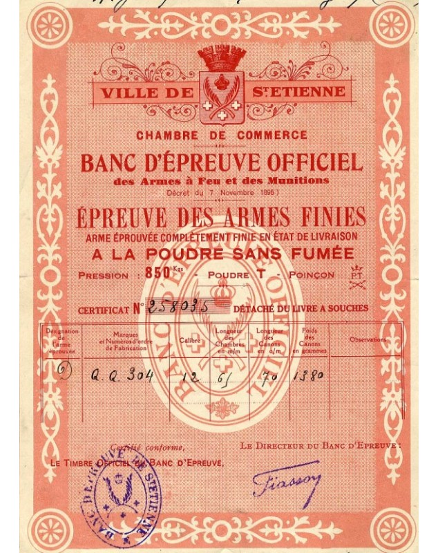 Ville de st etienne chambre de commerce banc d 39 epreuve officiel - Chambre du commerce saint etienne ...