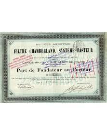 S.A. du Filtre Chamberland, Système Pasteur