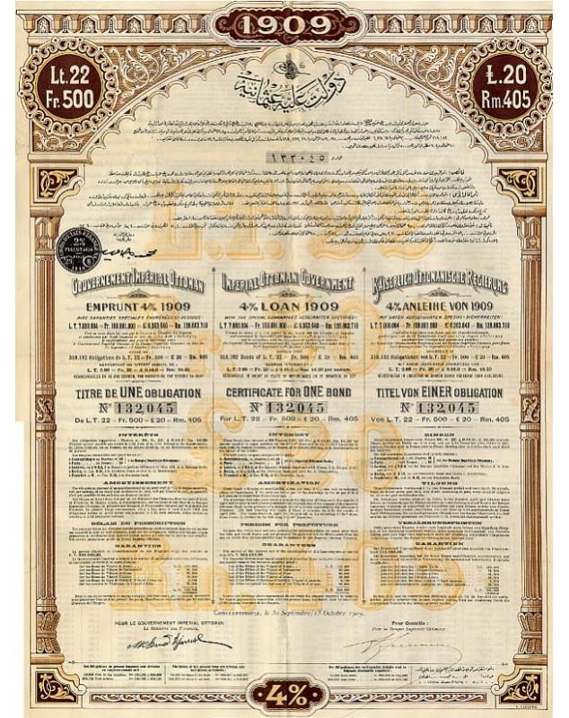 Gouv. Impérial Ottoman - Emprunt 4% 1909 Loans