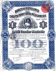 """Banco Hipotecario de Credito Territorial Mexicano. 1911 (""""Queen Elizabeth"""")"""
