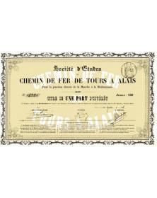 Centre/Indre-et-Loire 37 Sté d'Etudes de Chemin de Fer de Tours à Alais pour la jonction directe de la Manche à la Méditerranée