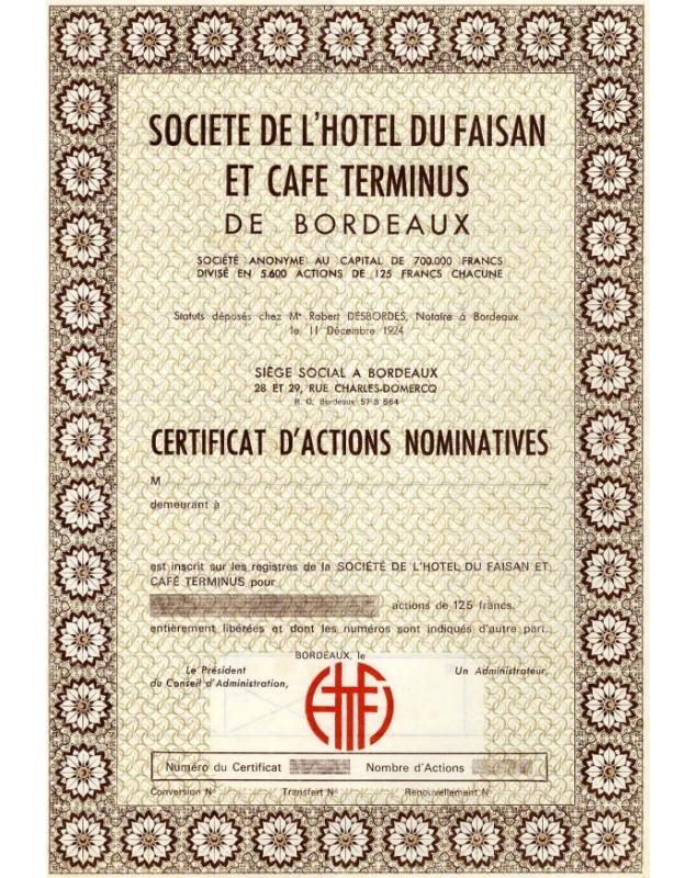 Sté de l'Hotel du Faisan et Café Terminus de Bordeaux