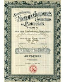 S.A. des Nouveaux Agglomérés Combustibles de Bordeaux. Boulets KL