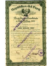 Republique du Pérou. Deuda Interna Consolidada 1930