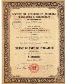 Sté de Recherches Minières Françaises & Coloniales (Mines de Sifi Mafa)