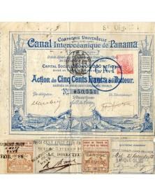 Cie Universelle du Canal Interocéanique de Panama, cachet de la Banque d'Alsace Lorraine, Banque de Metz et CNP