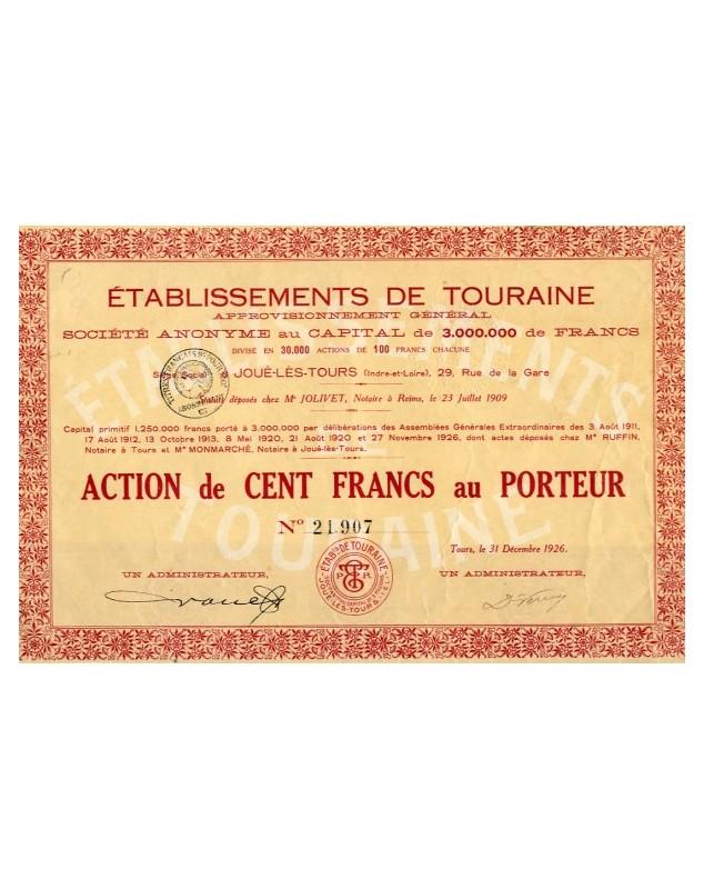 Ets de Touraine - Approvisionnement Général