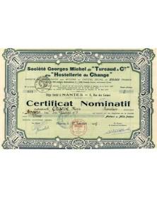 Sté Georges Michel dit ''Turcaud & Cie'' dite ''Hostellerie du Change''