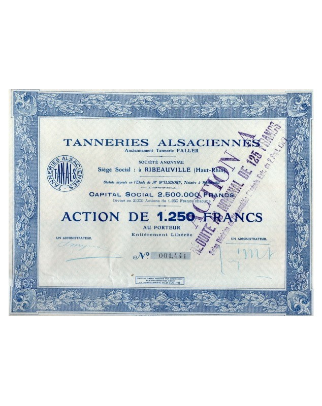 Tanneries Alsaciennes, formerly Tannerie Faller Alsace/Haut-Rhin 68