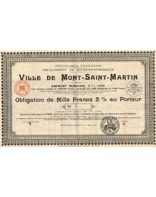 Ville de Mont-Saint-Martin, Département de Meurthe-et-Moselle. Emprunt Municipal 5% 1930