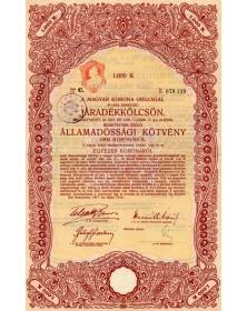 Jaradekkolcson -Royaume de Hongrie Emprunt en Rentes 6% (State-Bond)