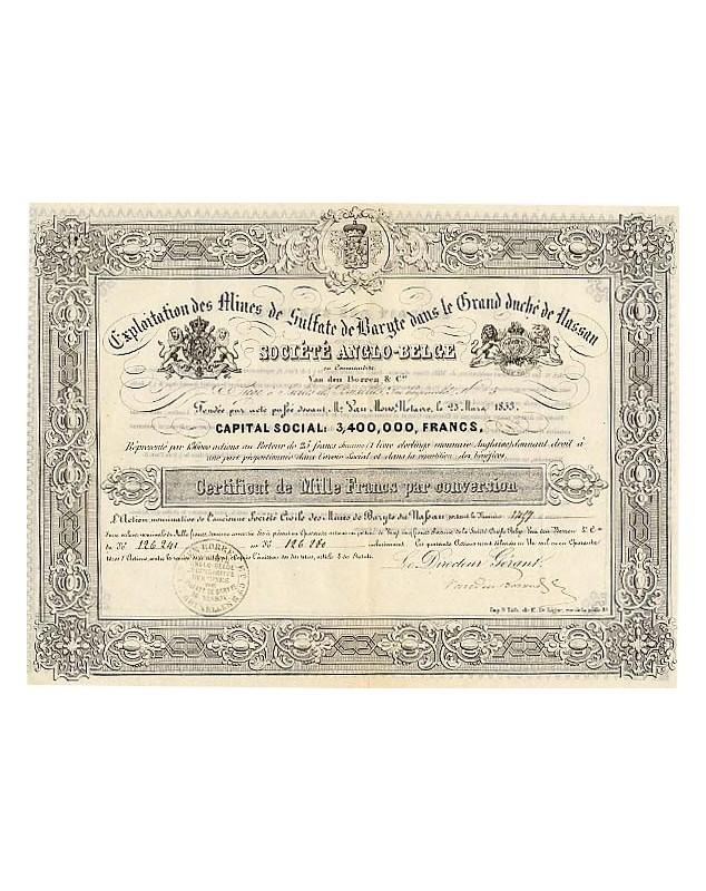 Exploitation des Mines de Sulfate de Baryte dans le Gd Duché de Nassau