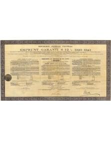 République Fédérale d'Autriche - Emprunt Garanti 6,5% 1923-1943