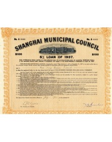 Shanghai Municipal Council - Emprunt  5% 1937