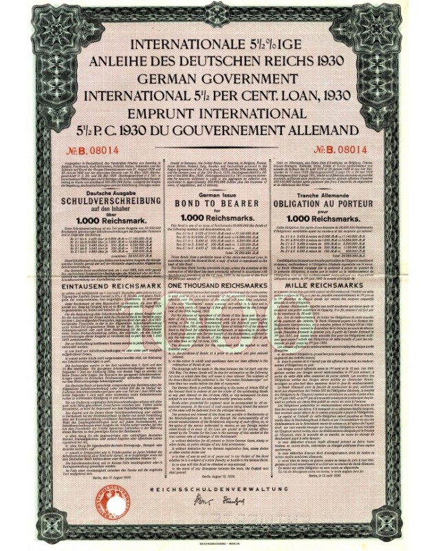 Emprunt International 5,5% 1930 Gouv. Allemand