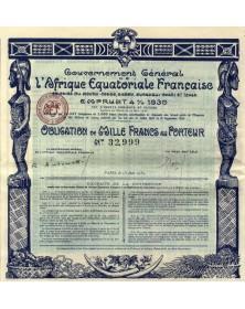 Gouvernement Général de l'Afrique Equatoriale Française - Emprunt 4% 1930