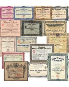 Lot de 15 titres différents de Banques françaises