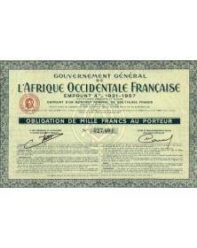 Gouvernement Général de l'Afrique Occidentale Française -  Emprunt 4% 1931