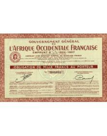 Gouvernement Général de l'Afrique Occidentale Française -  Emprunt 6% 1924 - 1957