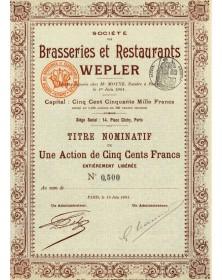 Sté des Brasseries et Restaurants Wepler