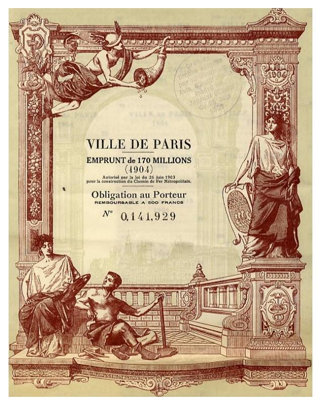 Ville de Paris - Emprunt de 170 Millions de F (1904)