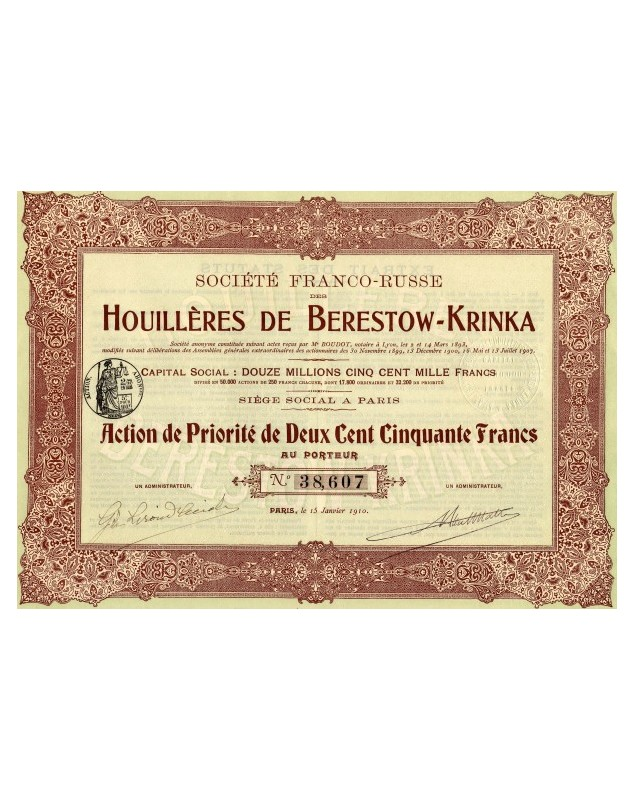 Sté Franco-Russe des Houillères de Berestow-Krinka