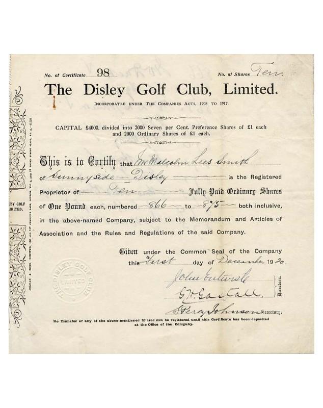 The Disley Golf Club Ltd. 1920 Stockport, Cheshire.