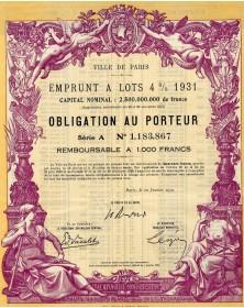 Ville de Paris - Emprunt à lots 4% 1931