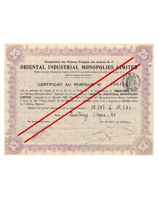Oriental Industrial Monopolies Ltd