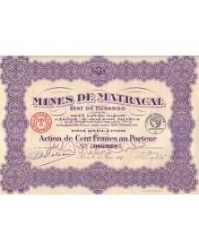 Mines de Matracal, Etat de Durango. 1927