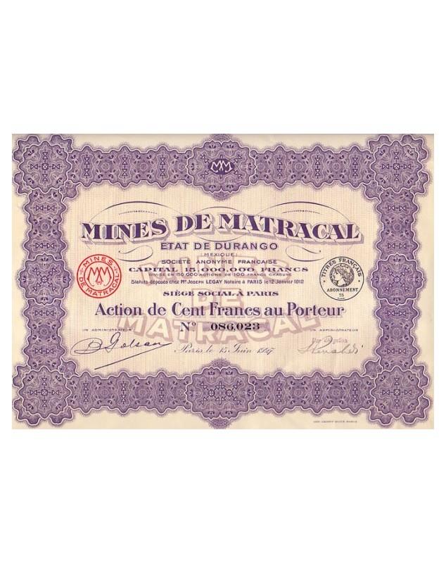 Mines de Matracal, Etat de Durango. 1927
