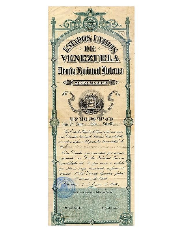 Estados Unidos de Venezuela - Deuda Nacional Interna. Serie 7a 1906