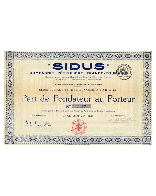 SIDUS - Cie Pétrolière Franco-Roumanie