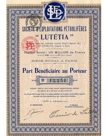 """Sté d'Exploitations Pétrolifères -LUTETIA-"""""""""""