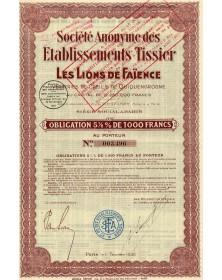 Sté des Ets Tissier Les Lions de Faïence Verreries de Creil et de Quiquengrogne