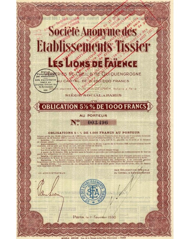 Industries/Earthenware Sté des Ets Tissier Les Lions de Faïence Verreries de Creil et de Quiquengrogne