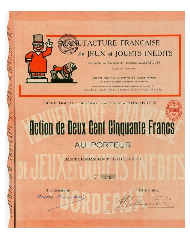 Manufacture Française de Jeux et Jouets Inédits (Exclusivité des Inventions de l'Humoriste Albertilus)